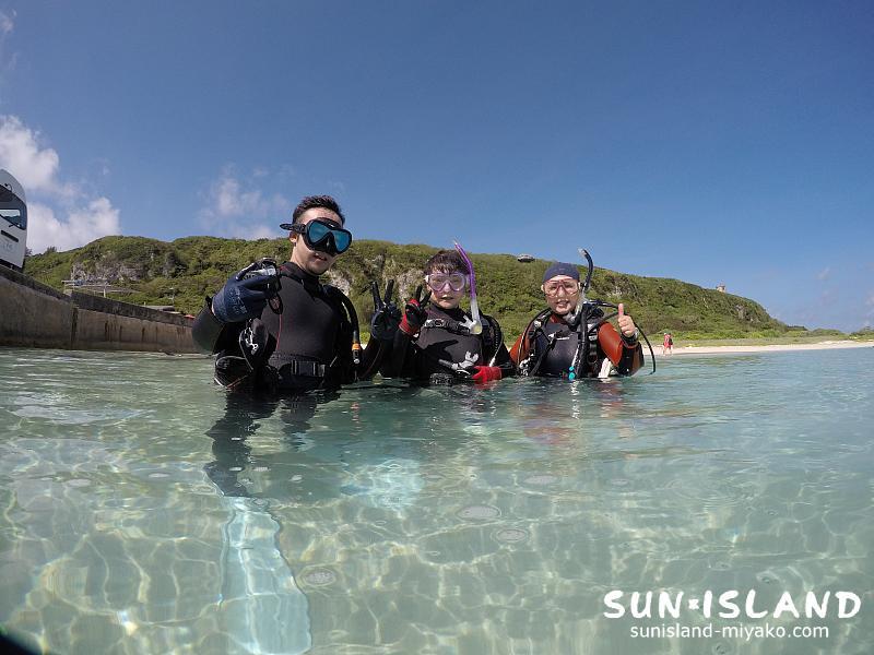 ビーチ体験ダイビングにご参加されたUさんたち